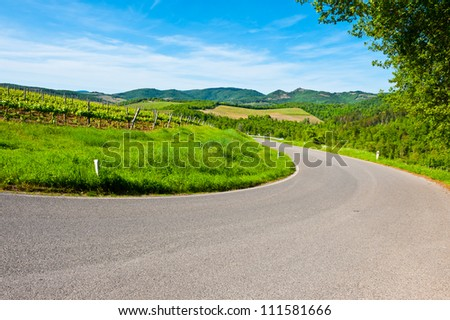 Winding Paved Road in the Chianti Region, Italy