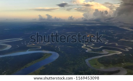 Winding river forming estuary in Jacksonville, Florida