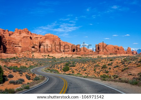 Winding road at Arches National Park, Utah