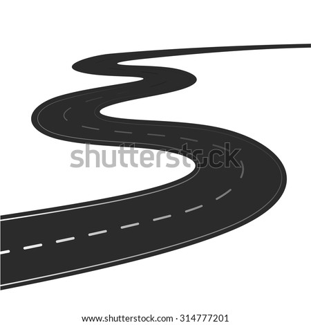 Winding road illustration isolated on a white background