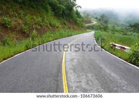 Winding road in north of Thailand