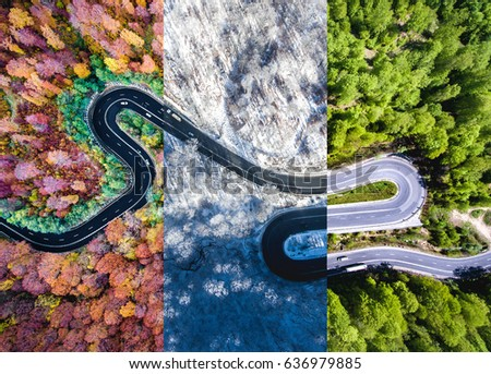 Winding road in the forest. Autumn, summer and winter time collage. Top down aerial view from a drone. #636979885