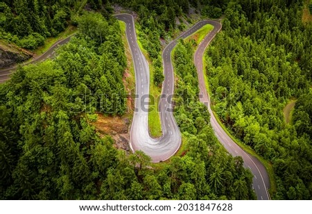Winding road in the forest, top view. Forest road top view landscape. Road in forest top view panorama. Forest winding road