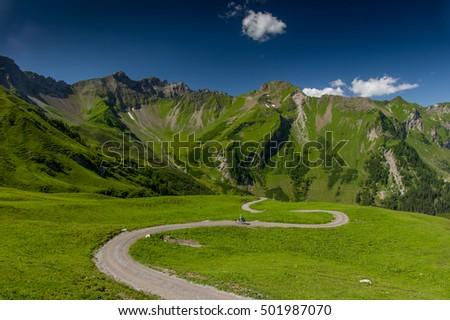 Winding road in the mountains - The Alps, Liechtenstein