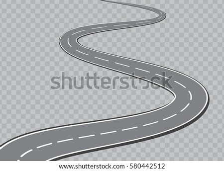 Winding Road Isolated on checkered background.