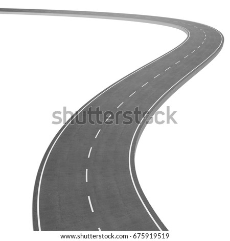 Winding Road isolated on White Background. Road way location infographic template. Two-way road bending on a white background. Asphalt road with turns, 3D rendering