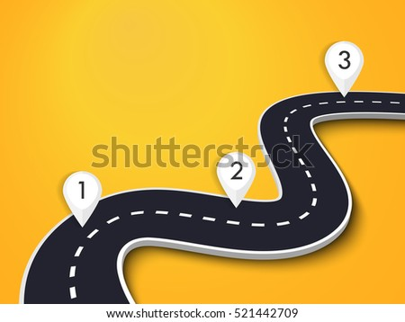 Winding Road on a Colorful Background with pin pointer