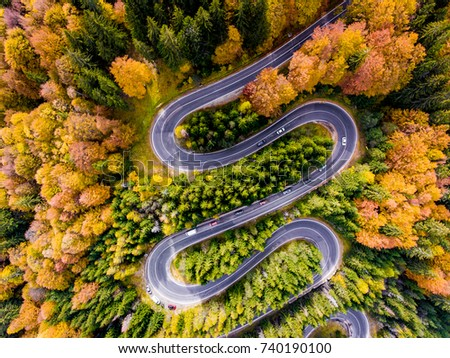 Winding Road surrounded by a colourfull trees in the forest #740190100