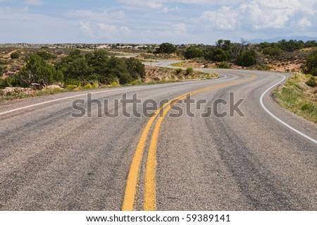 Winding road through the desert, Islands in the Sky, Canyonlands National Park, Utah