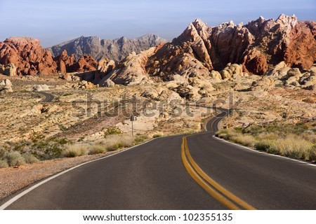 Winding road through unusual rock formations used to represent Mars in Star Trek shows at Valley of Fire in Nevada, USA