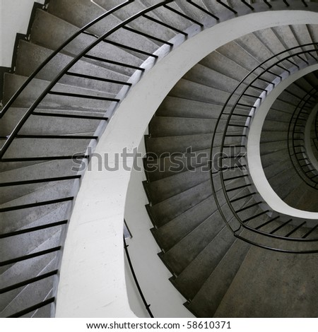 Winding stair rail in museum in Munchen, Germany