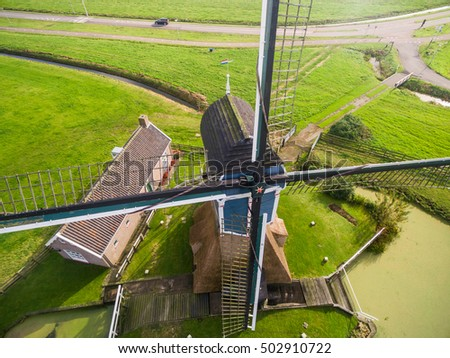 windmill aerial view at holland ...