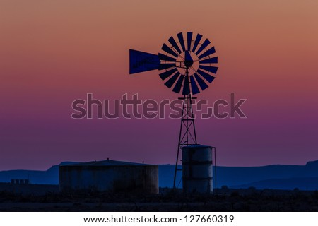 Windmill after sunset, Southwestern Colorado