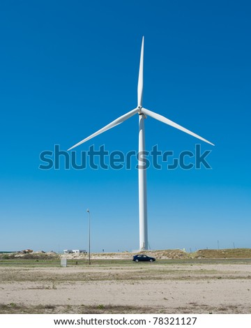 windmill against a blue sky at the Rotterdam Maasvlakte