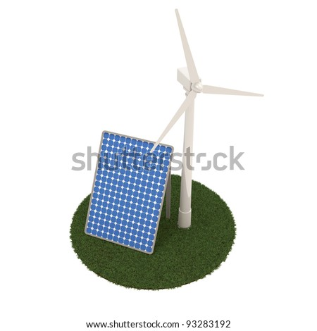 Windmill and Solar Panels on white background (Alternative Energy Concept)