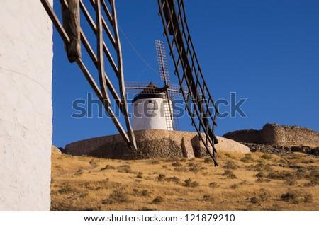 Windmill  at Consuegra in the Province of Toledo, Castile La Mancha, Spain