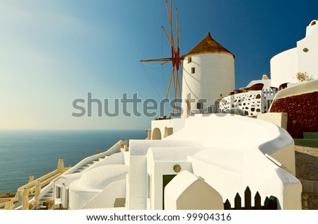 Windmill at Oia of Santorini island in Cyclades, Greece
