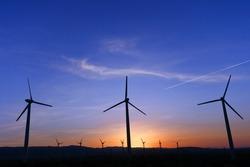 Windmill at sunrise, Palm Springs, CA