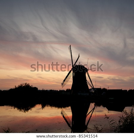 Windmill at sunset with colorful sky. Kinderdijk,the Netherlands