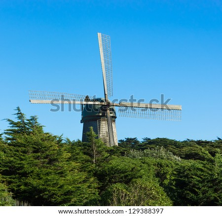 Windmill at the Coast of Pacific in San Francisco