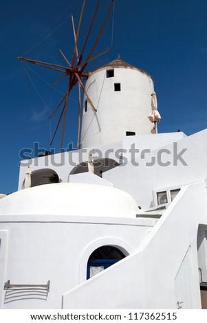 Windmill. Beautiful views of Santorini
