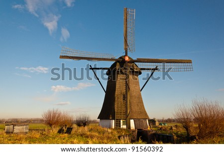"""Windmill """"De Oude Doorn"""" (Anno 1700) in the Dutch village of Almkerk, municipality of Woudrichem , province of North Brabant. The mill, until 1965 in use as a polder mill, is in restoration since 2011"""