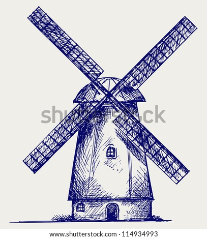 Windmill. Doodle style. Raster version - stock photo