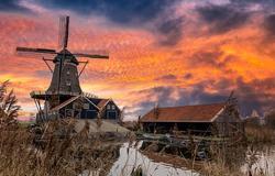 Windmill farm in morning sunrise. Sunrise windmill farm river. Windmill sunrise scene. Windmill sunrise view
