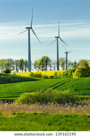 windmill, group of aligned windmills for electric power generation alternative