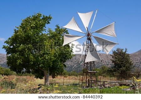 Windmill in a Lasithi plateau. Crete, Greece