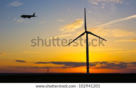 Windmill in evening sunset