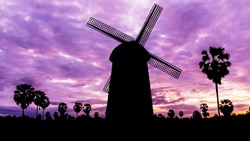 Windmill in national park on twilight time