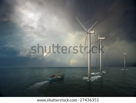 Windmill in ocean. Storm rising