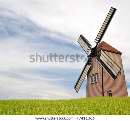windmill in rice plant