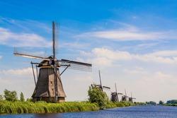 Windmill in Unesco World Heritage Site, Kinderdijk, Holland, Netherlands.