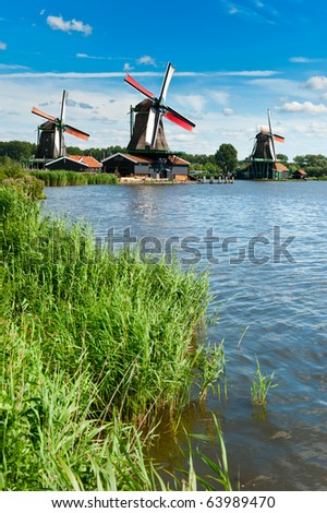 Windmill landscape in the Zaanse Schans, the netherlands