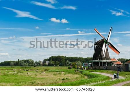 Windmill landscape in the Zaanse Schans, the netherlands