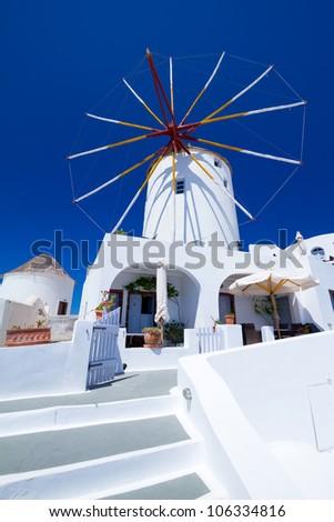 Windmill of Oia village at Santorini island. Greece