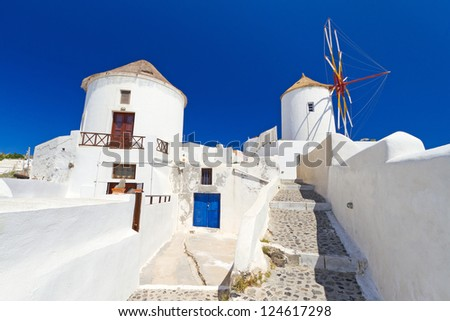 Windmill of Oia village on Santorini island, Greece