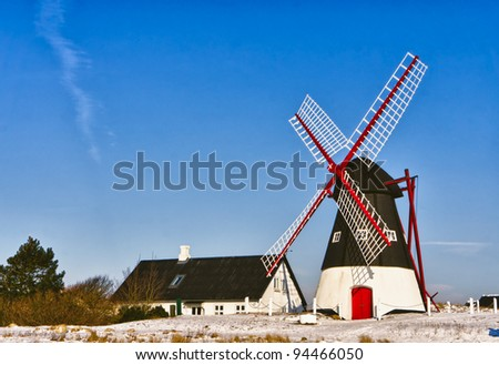 Windmill on Mando in the wadden sea, Ribe, Denmark