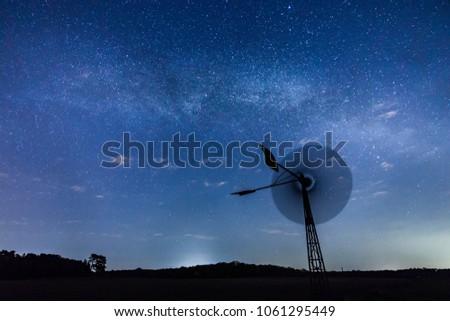 Stock Photo Windmill space milky way star
