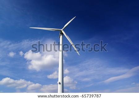 Windmill turbine background, renewable power, wind energy