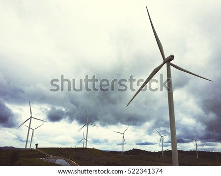 Windmill Turbine Fuel and Power Generation Ecology Concept