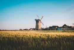 windmill wind field farm sunset goldenhour