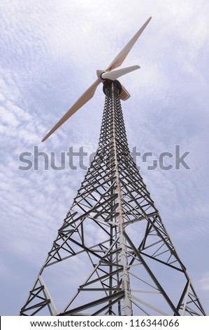 windmill with cloudy sky
