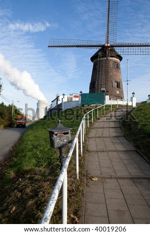 windmill with in front a postbox and stairs