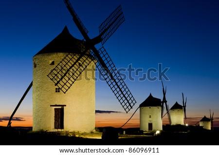windmills at night, Consuegra, Castile-La Mancha, Spain
