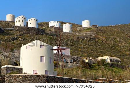Windmills at Santorini island in the cyclades, Greece