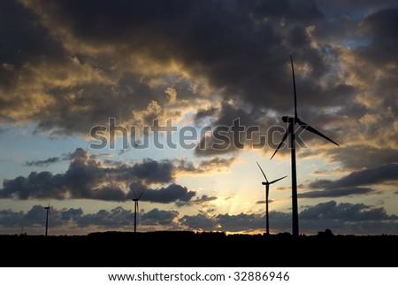Windmills at sundown