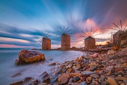 Windmills at sunset in Chios Island